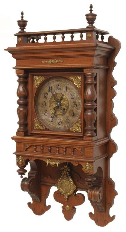 16: GUSTAV BECKER WALNUT CASED WALL CLOCK