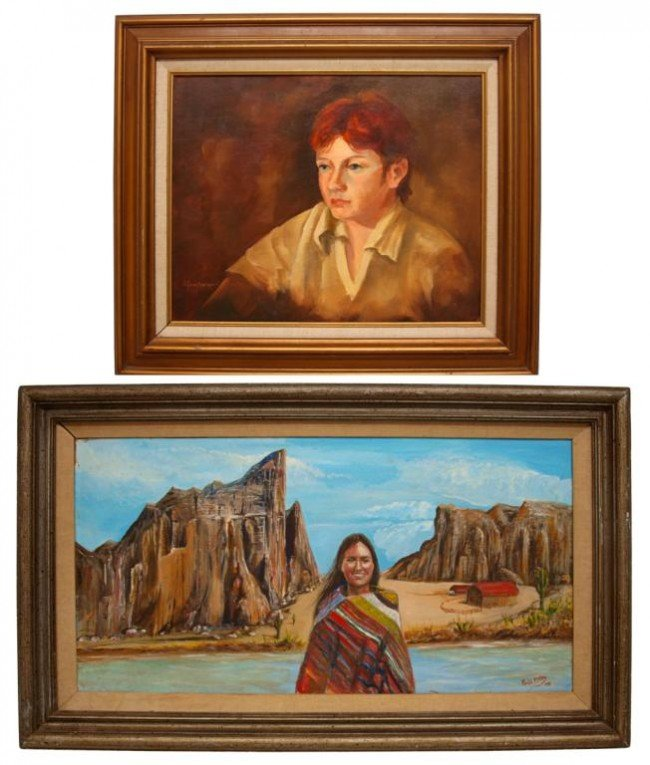 26: (2) FRAMED PAINTINGS, PORTRAITS, NATIVE AMERICAN