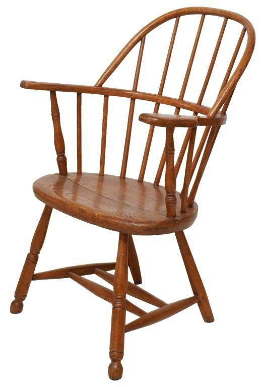 32: AMERICAN OAK WINDSOR BACK CHAIR, NEW YORK