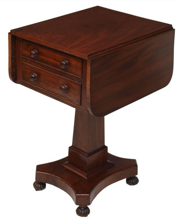34: AMERICAN CLASSICAL MAHOGANY DROP SIDE WORK TABLE