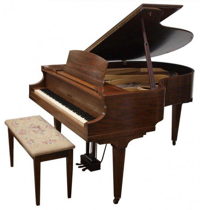 136: KIMBALL MAHOGANY CASED BABY GRAND PIANO & BENCH