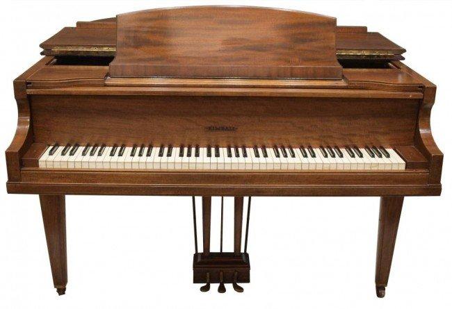 136: KIMBALL MAHOGANY CASED BABY GRAND PIANO & BENCH - 3