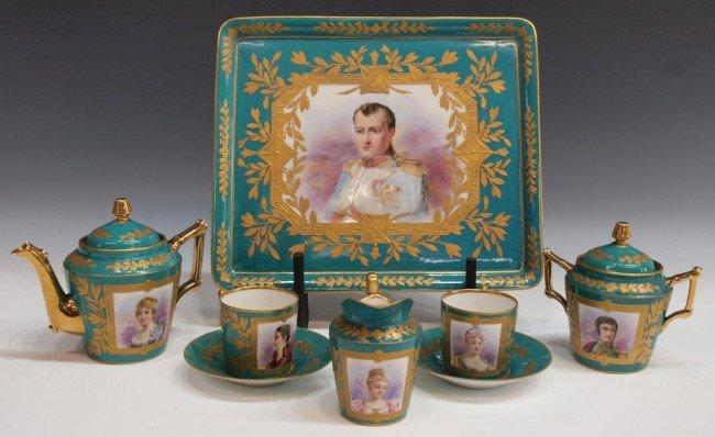 170: (8) SEVRES STYLE PARCEL GILT NAPOLEON TEA SET