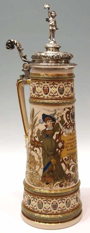 172: LARGE 1895 METTLACH STEIN, STERLING, PROVENANCE