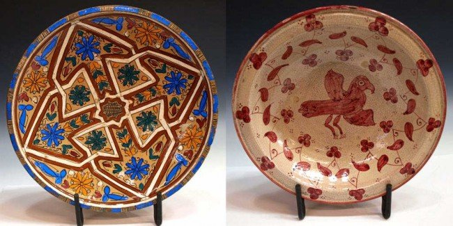 401: ANTIQUE POLYCHROME MOROCCAN POTTERY BOWLS