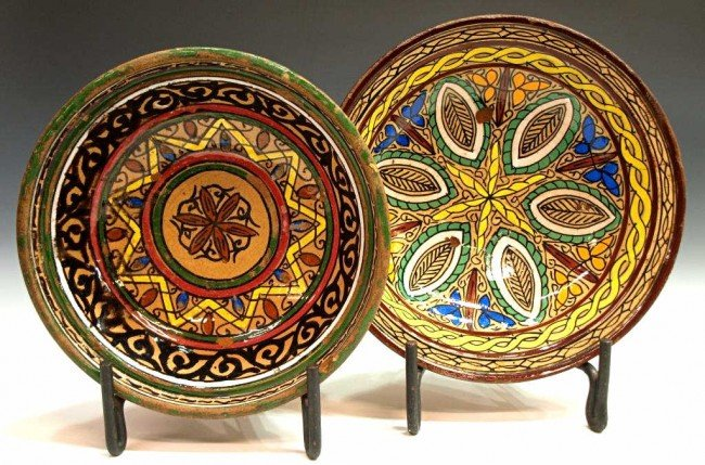 402: ANTIQUE MOROCCAN POLYCHROME POTTERY BOWLS