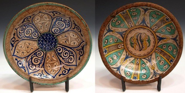 403: ANTIQUE MOROCCAN POLYCHROME POTTERY BOWLS