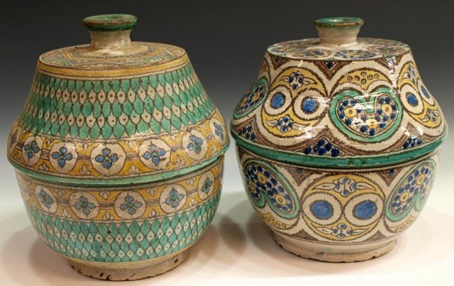 404: ANTIQUE MOROCCAN POTTERY COVERED SERVICE TUREENS