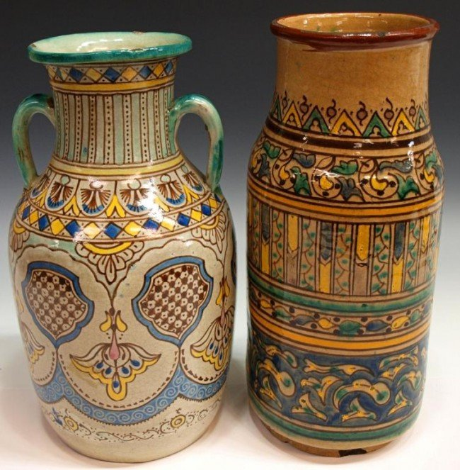 405: ANTIQUE MOROCCAN GLAZED POTTERY BUTTER JARS/ VASES