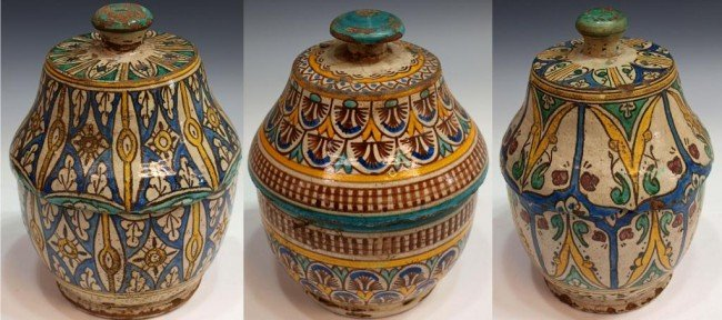 406: ANTIQUE MOROCCAN POTTERY COVERED SOUP TUREENS