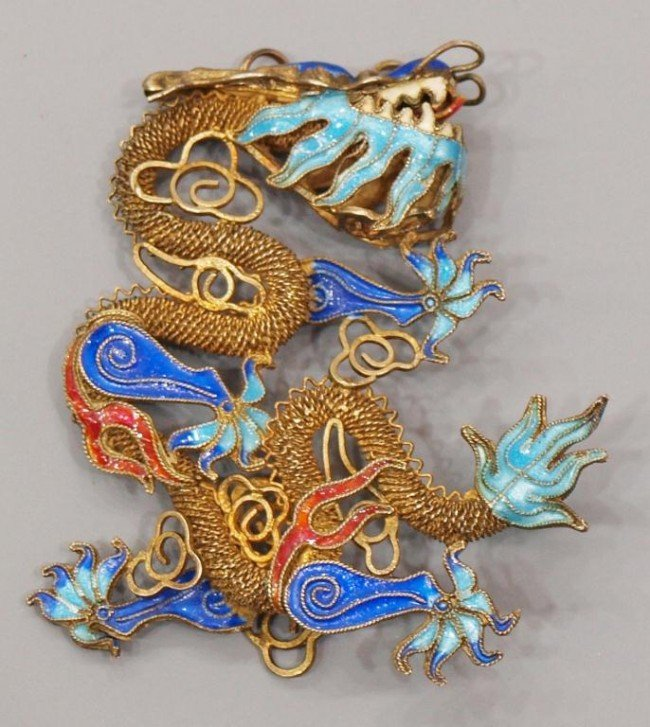 416: CHINESE ENAMEL & FILIGREE DRAGON PENDANT