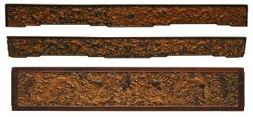 630: (3) FINELY CARVED QING D.ZITAN WOOD CHINESE PANELS