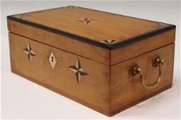 679 ANTIQUE SATINWOOD BOX INLAID BONE  EBONY STARS