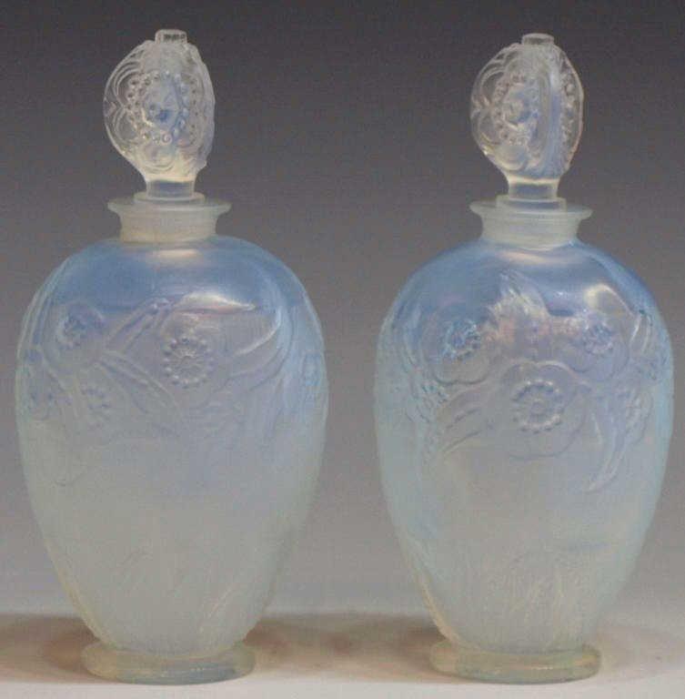 2: PAIR SABINO OPALESCENT ART GLASS SCENT BOTTLES