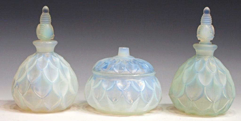 6: SABINO OPALESCENT ART GLASS SCENT BOTTLES & JAR
