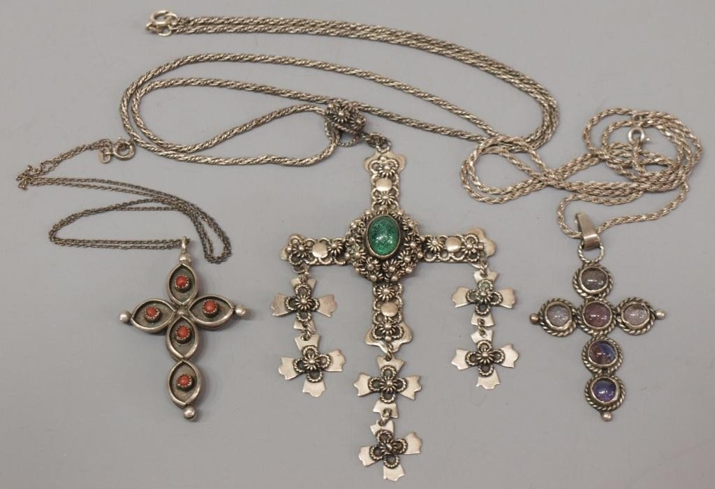15: JEWELRY VINTAGE MEXICO TAXCO 925 STERLING CROSSES