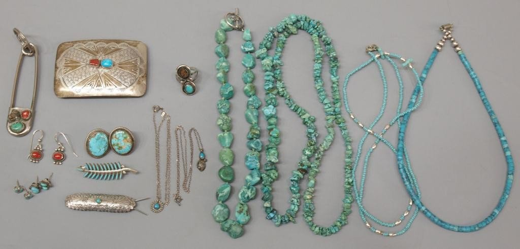 16: HUGE GROUP SOUTHWEST TURQUOISE & STERLING SILVER