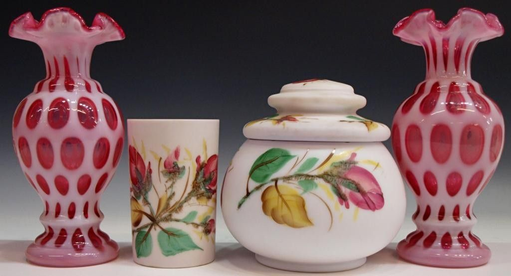 GROUP VICTORIAN, OTHER VASES, ENAMELED SATIN GLASS