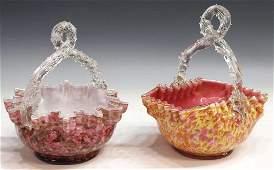 105 2 VICTORIAN ART GLASS BASKETS THORN HANDLES