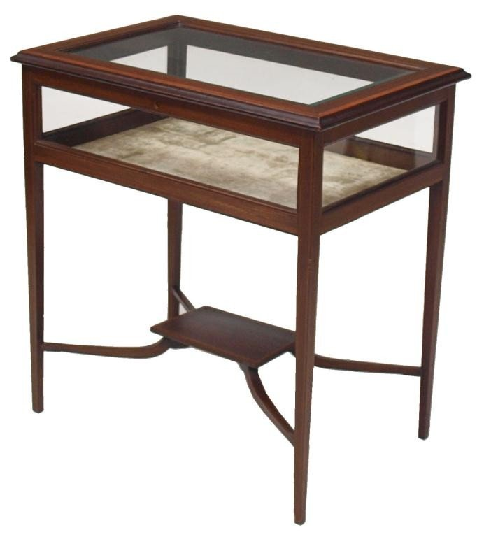 187: EDWARDIAN MAHOGANY GLASS TOP DISPLAY TABLE