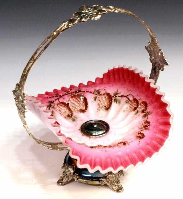 214: FINE VICTORIAN ART GLASS ENAMELED BRIDES BASKET