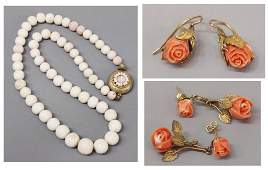 417 VINTAGE RED  PALE PINK CORAL JEWELRY GROUP