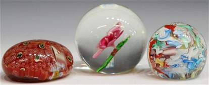424: ANTIQUE/VINTAGE ART GLASS MILLEFIORI PAPERWEIGHTS