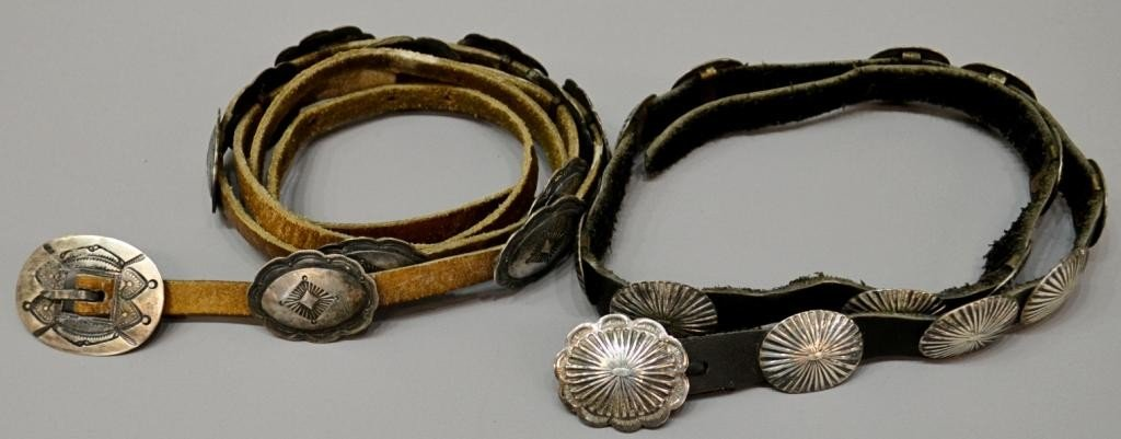 11: (2) VINTAGE CHILD'S & OTHER SILVER CONCHO BELTS