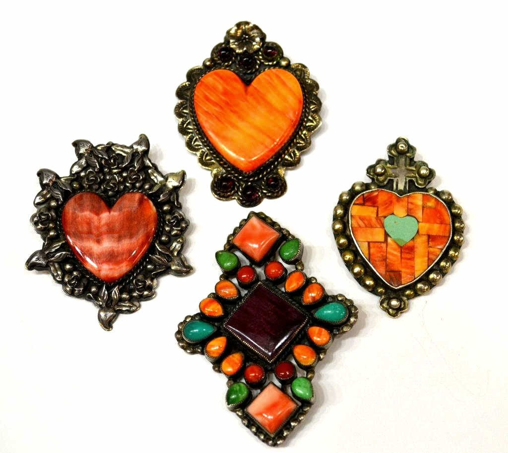 22: SOUTHWESTERN STERLING & STONE HEART BROOCHES