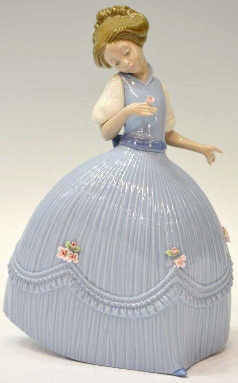27: LLADRO, 'GIRL BLUISH DRESS FLOWER', #5119, RETIRED