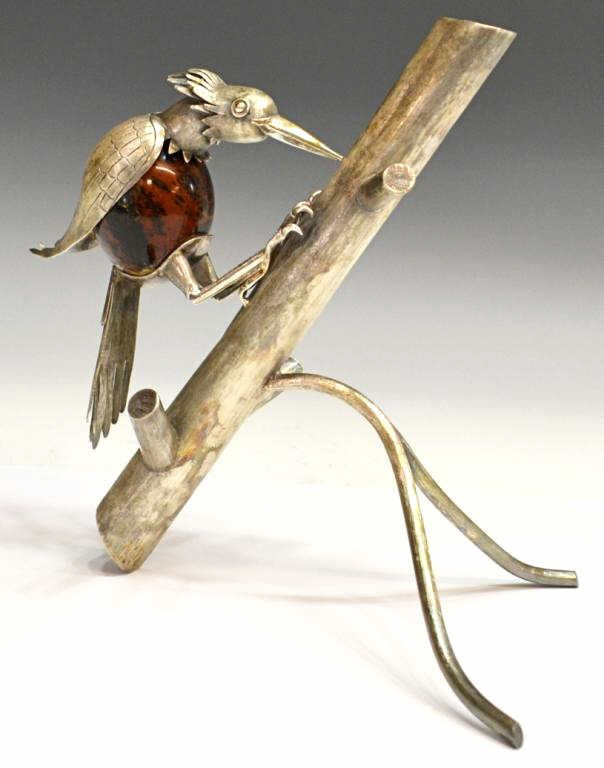 48: VINTAGE STERLING & STONE WOODPECKER, MEXICO