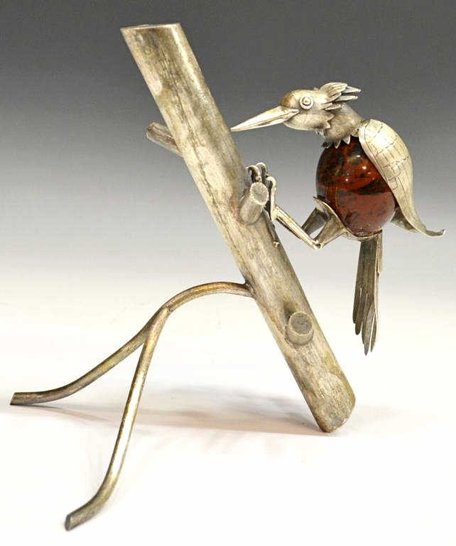 48: VINTAGE STERLING & STONE WOODPECKER, MEXICO - 3