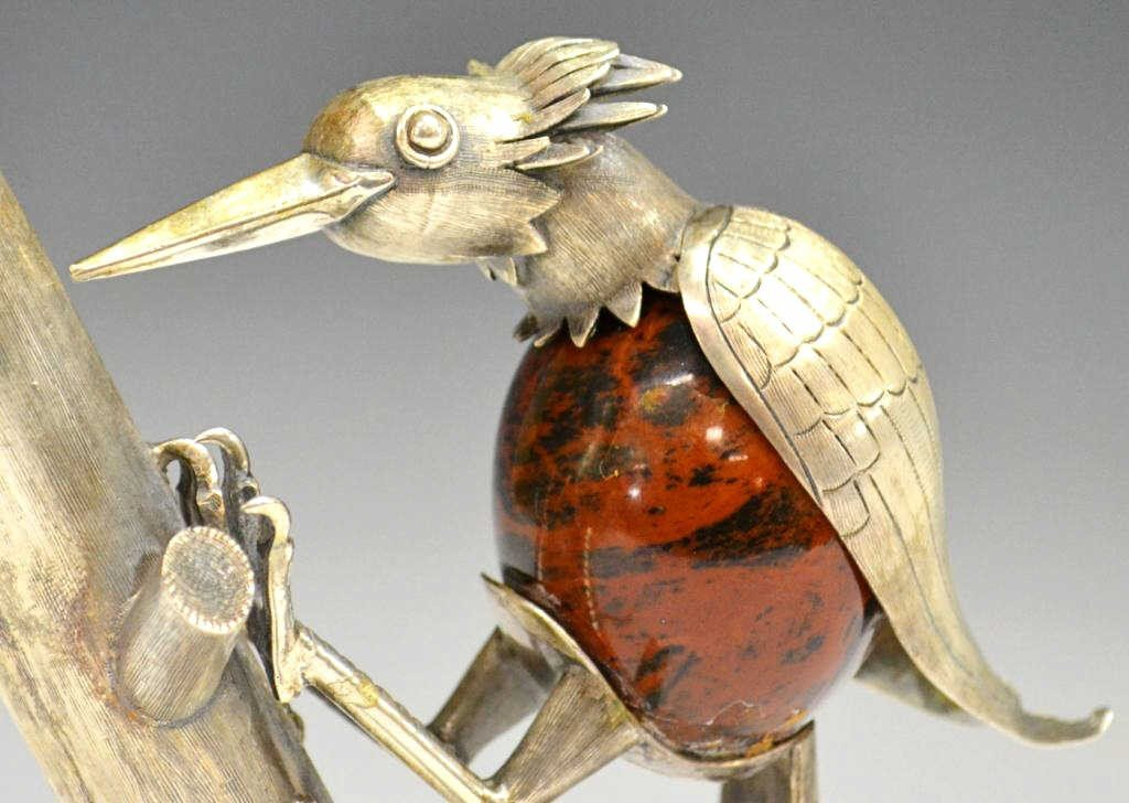 48: VINTAGE STERLING & STONE WOODPECKER, MEXICO - 4