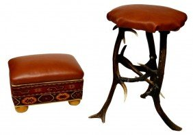 (2) DEER ANTLER STOOL & LEATHER STOOL