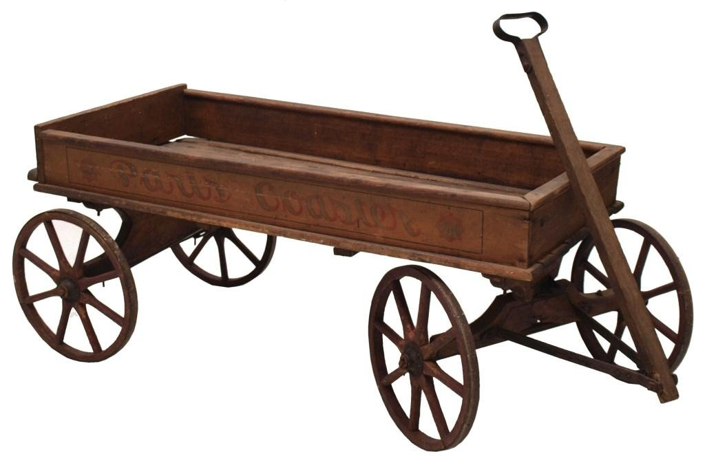 173 Antique Paris Coaster Wood Childs Wagon No 16