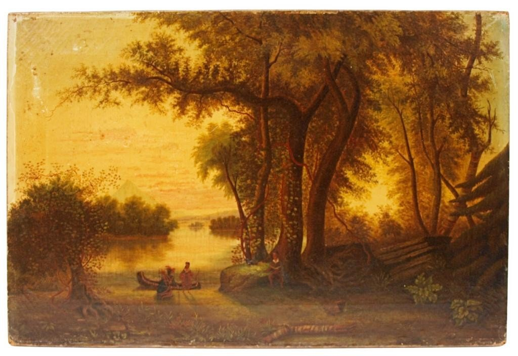 179: PAINTING: INDIANS WITH CANOE LANDSCAPE, 19TH C