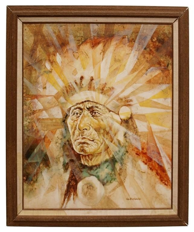 185: FRAMED PAINTING, NATIVE AMERICAN INDIAN CHIEF