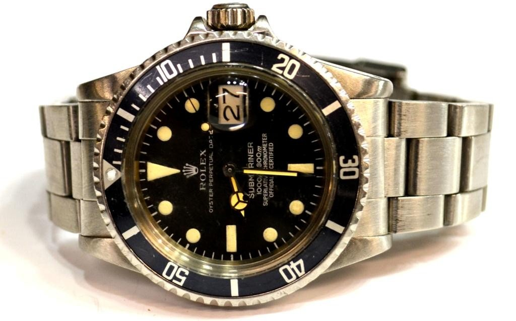188: ROLEX SUBMARINER BLACK DIAL WATCH, STAINLESS BAND