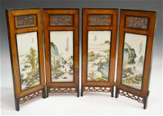 374: CHINESE FOUR PANEL PORCELAIN TABLE SCREEN