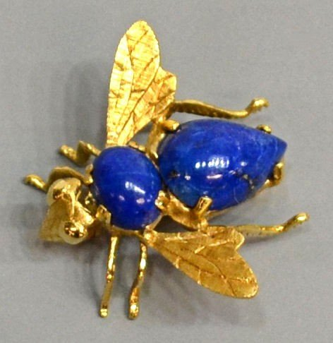 23: 14KT GOLD & LAPIS BUMBLE BEE FORM BROOCH / POM