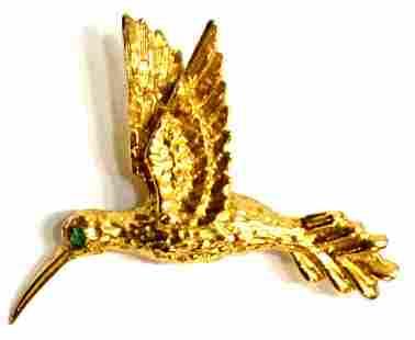 LADIES 18KT GOLD HUMMINGBIRD PIN / BROOCH