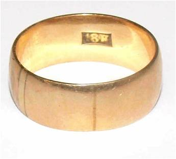 LADIES WIDE 18KT GOLD RING BAND, 4.62 GRAMS