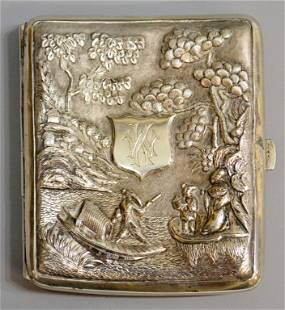 CHINESE EXPORT REPOUSSE SILVER CIGARETTE BOX