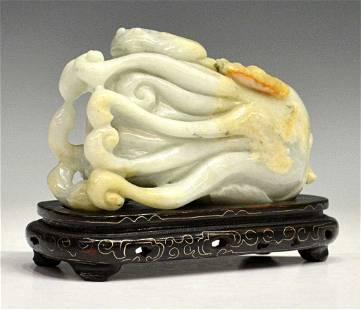 CHINESE GREEN JADE STUDY, BUDDHA HAND CITRON
