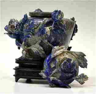 CHINESE LAPIS LAZULI FLORAL CARVED COVERED VASE