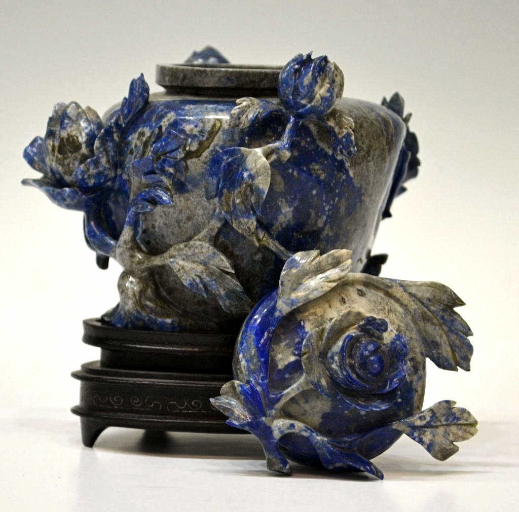 37: CHINESE LAPIS LAZULI FLORAL CARVED COVERED VASE