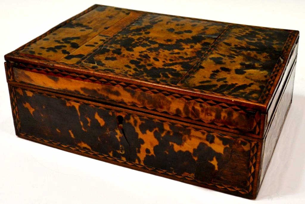 54: 19TH C. ENGLISH TORTOISE SHELL WORK BOX