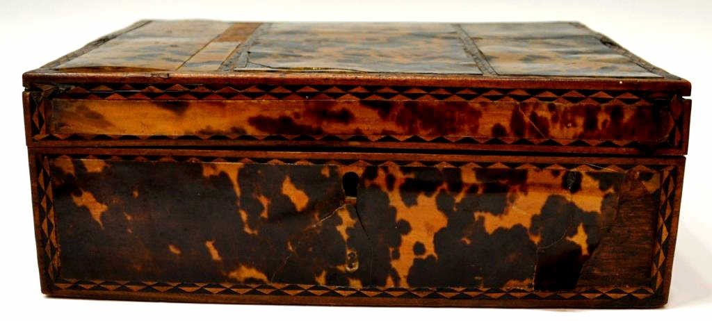 54: 19TH C. ENGLISH TORTOISE SHELL WORK BOX - 2