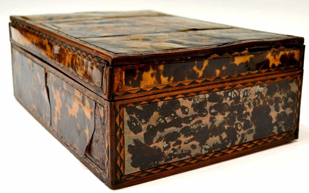 54: 19TH C. ENGLISH TORTOISE SHELL WORK BOX - 3