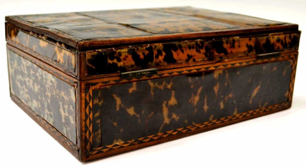 54: 19TH C. ENGLISH TORTOISE SHELL WORK BOX - 4